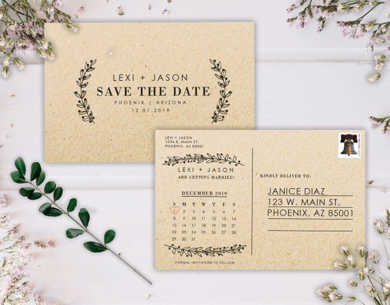 Calendar Save The Date Postcard, Postcard Save the Date, Save the