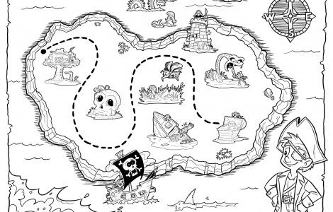 Free Pirate Treasure Maps and Party Favors Coloring page
