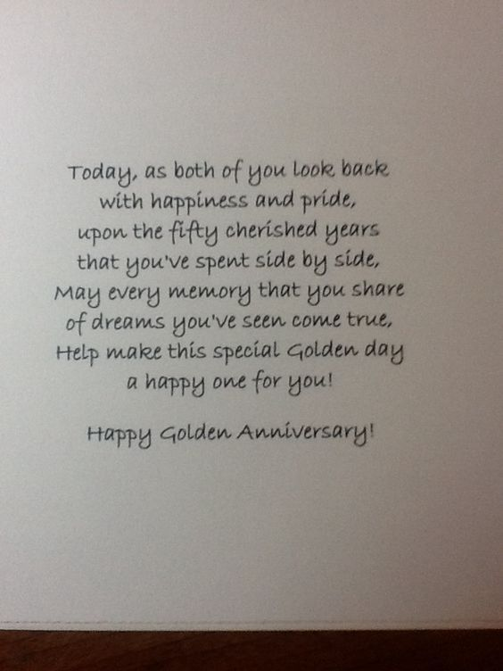 Golden Anniversary Could Use For Silver Too 50th Anniversary Quotes Anniversary Verses 50th Anniversary Cards