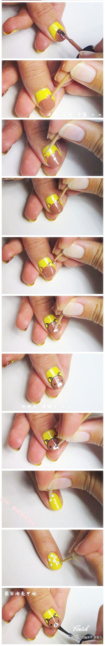 Rilakkuma #nailart tutorial - Nagellak   Pinterest - Nagel en Nagellak