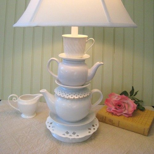 White Teapot Lamp Teapots Tea Cup And Reticulated Saucers Alice In  Wonderland | EBay