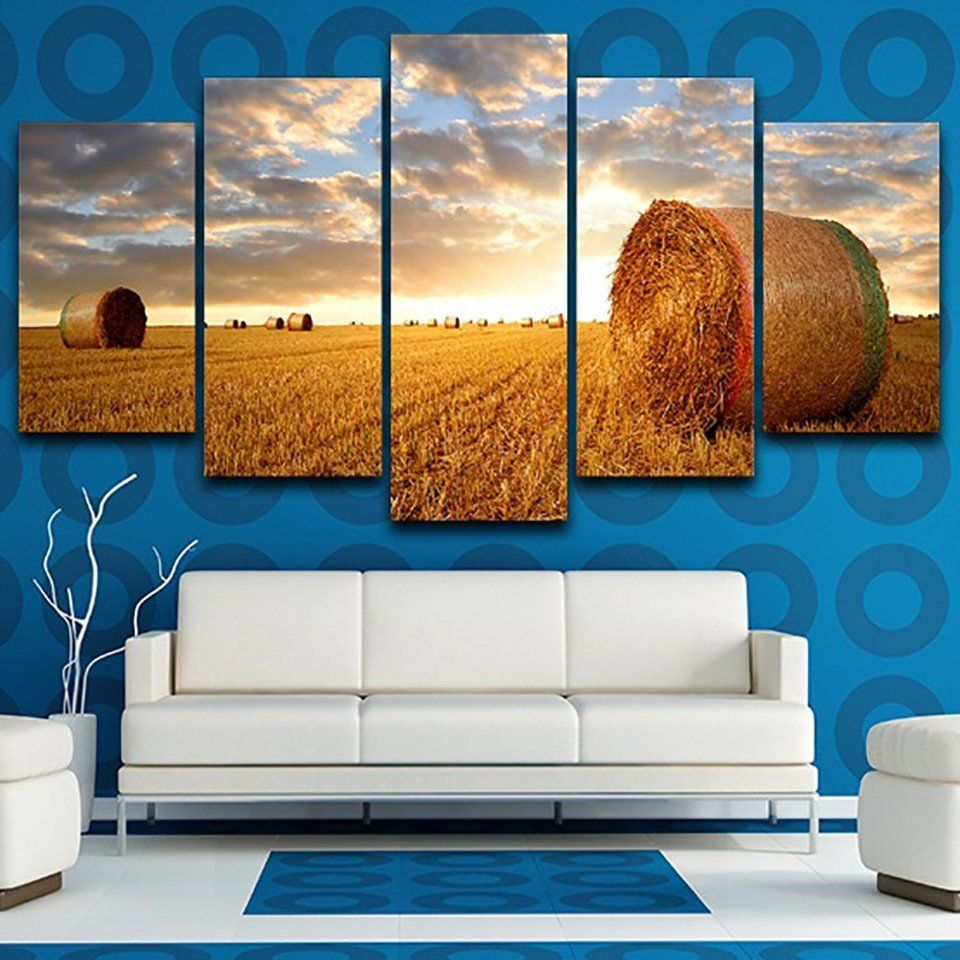 5 Pieces//Pcs Sunset Landscape Art Autumn Scenery Live Wall Decoration Modular