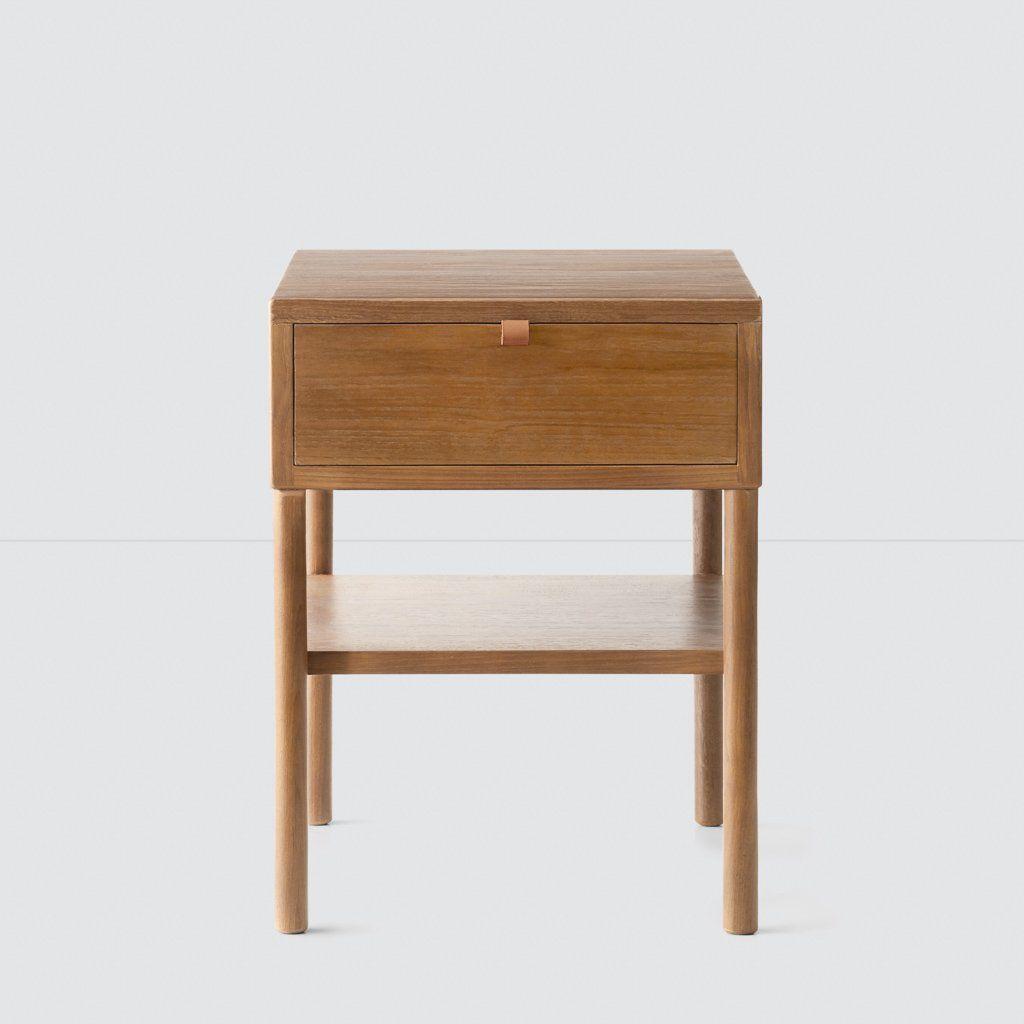 Solid Wood Nightstand In 2021 Teak Nightstand Wood Nightstand Modern Nightstand