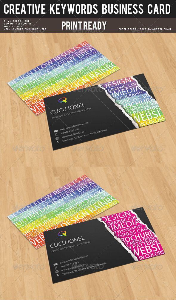 Creative Keywords Business Card Business Card Template Design Colorful Business Card Business Cards Creative