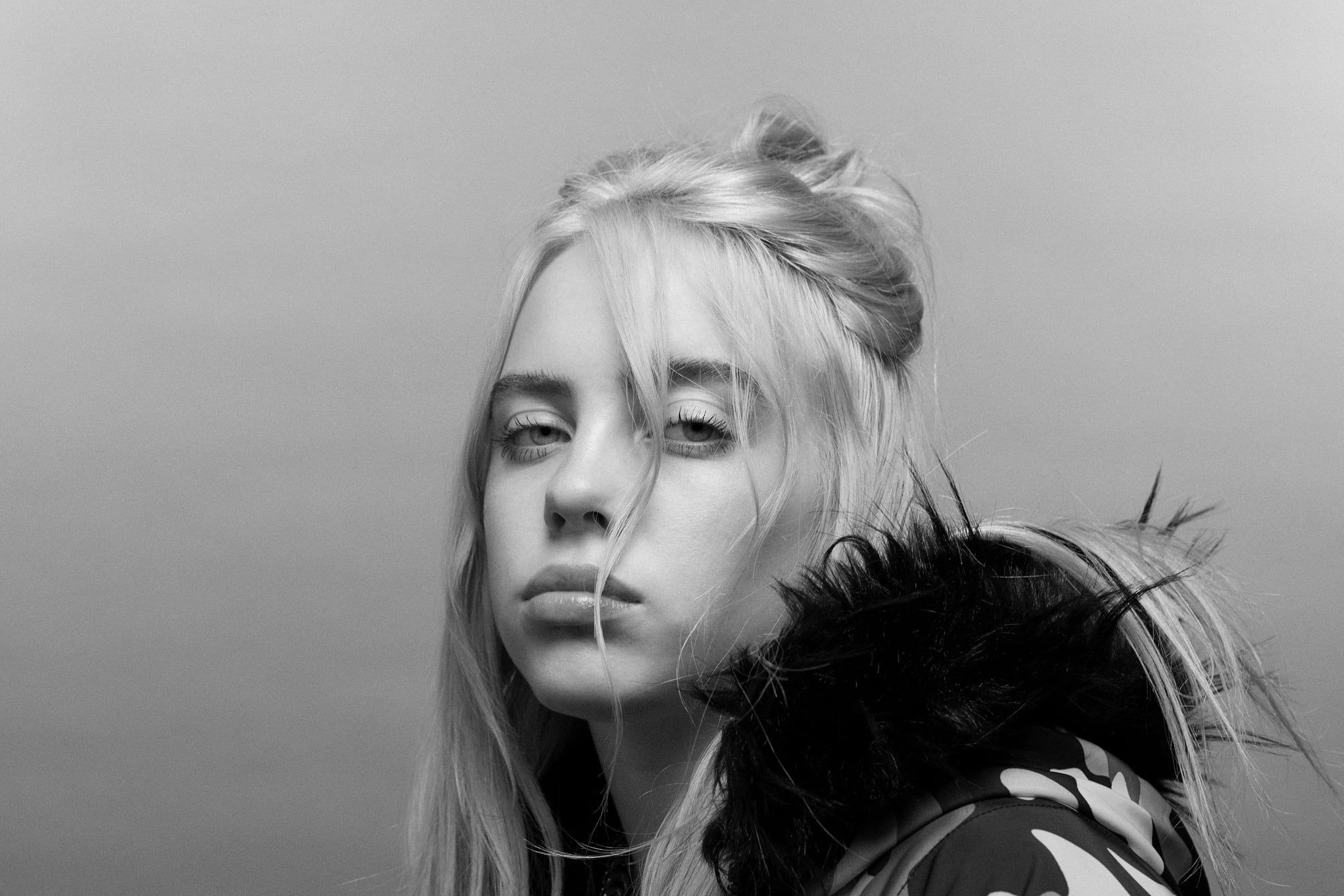 Sci Fi Billie Eilish American Monochrome Singer 1080p Wallpaper Hdwallpaper Desktop In 2020 Billie Eilish Billie Monochrome