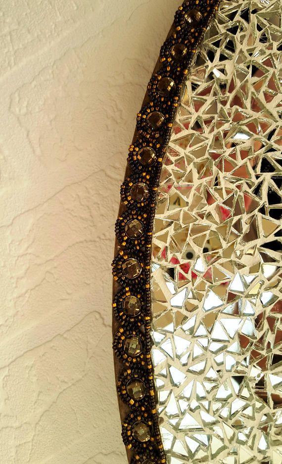 Round custom glass mosaic mirror wall decor 24\