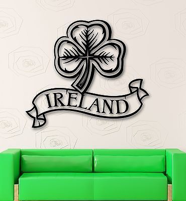 Wall sticker vinyl decal ireland irish symbol shamrock mascot luck ig1937