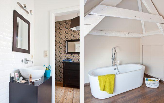 Badkamer Gezellig Maken : De badkamer op zolder extra gezellig maken door de draagbalken te