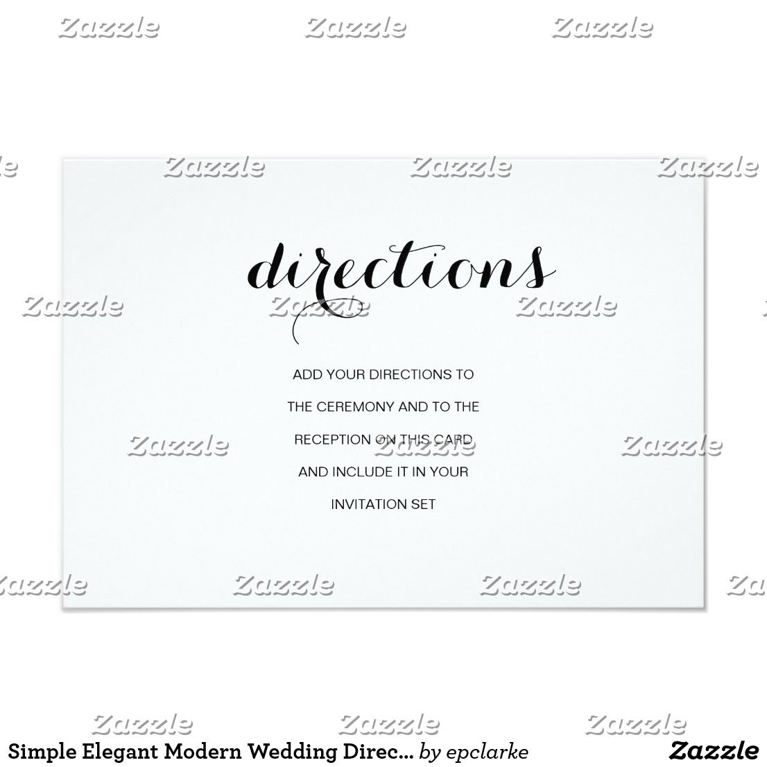 Simple Elegant Modern Wedding Directions Card | Elegant Wedding ...
