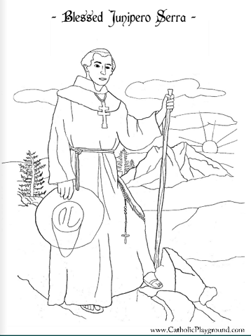 Blessed Junipero Serra Catholic coloring page: Patron of