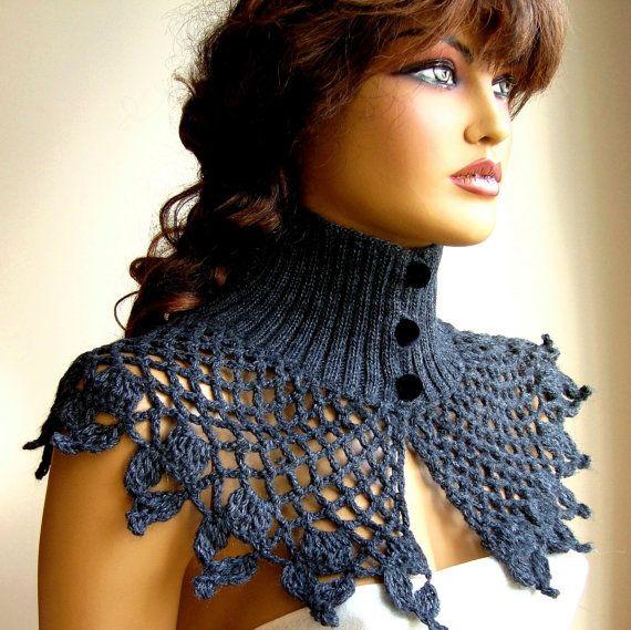 Crochet Gray Bolero, Gray Shrug, Crochet Capelet, Gray Winter Shawl ...