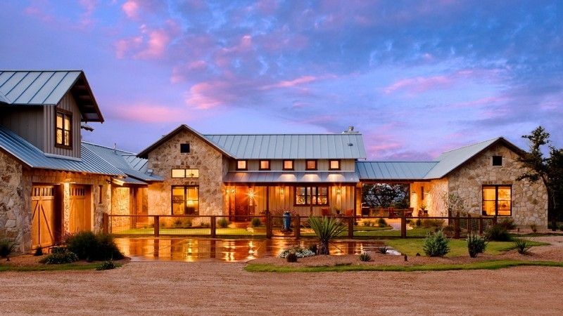 Letter L Shaped Texas Hill Country Home Plan With Wooden Fence And Big Yard In Bright Lighted Sty Ranch House Exterior Ranch House Designs Country House Design
