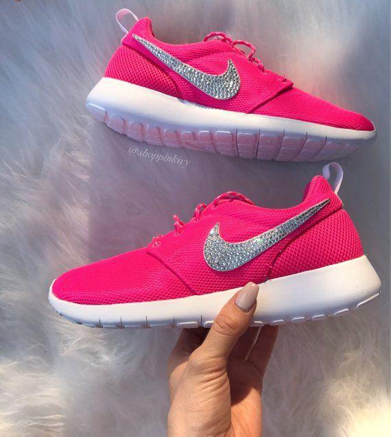 low priced 67294 dd0bf Blinged Women s Girls Swarovski Nike Roshe One Shoes Pink   Etsy