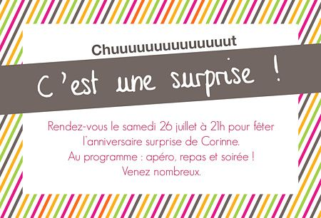 invitation f te surprise adulte save the date faire part. Black Bedroom Furniture Sets. Home Design Ideas