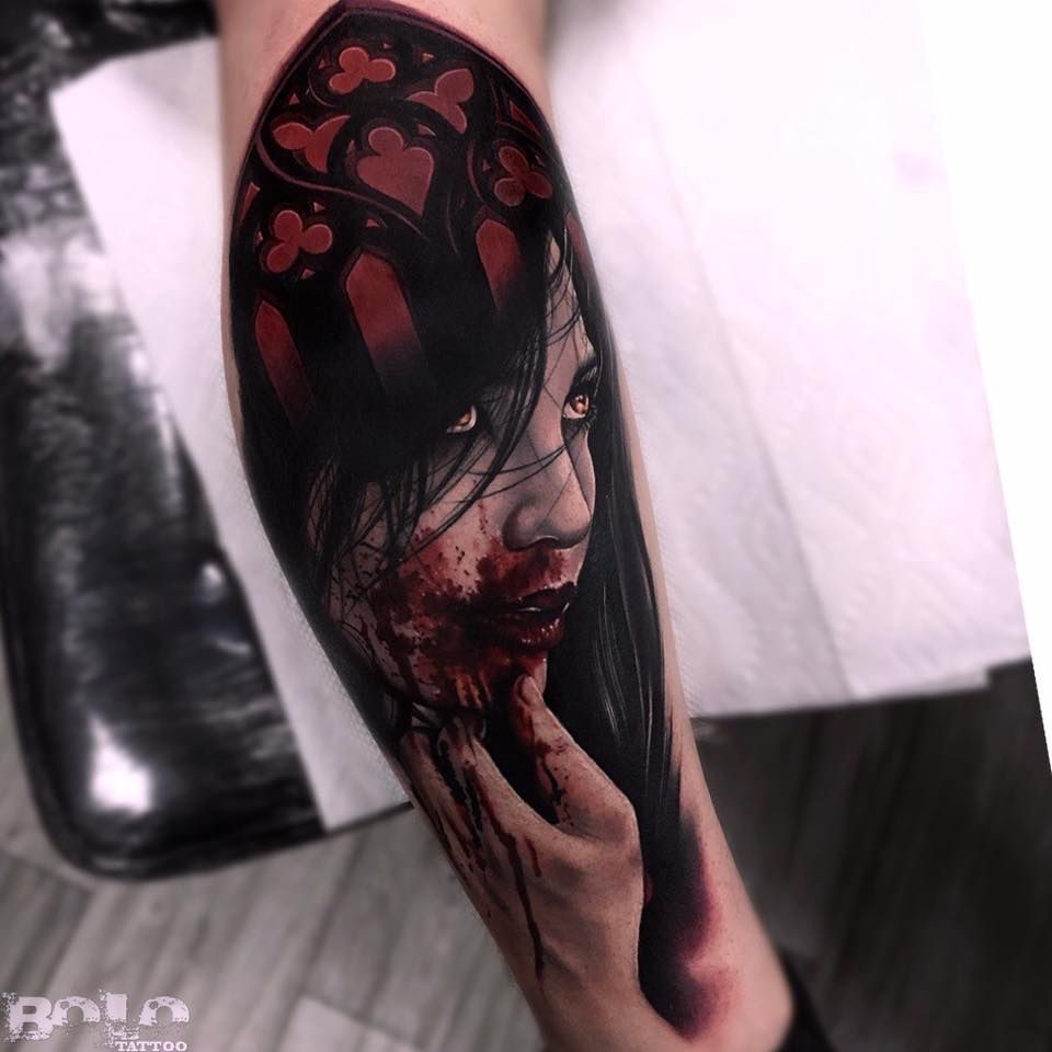 Flaming art tattoo for geek tattoo lovers this kind of batman - Vampire Realism Tattoo Design By Bolo Art Tattoo Check Out His Stuff Https