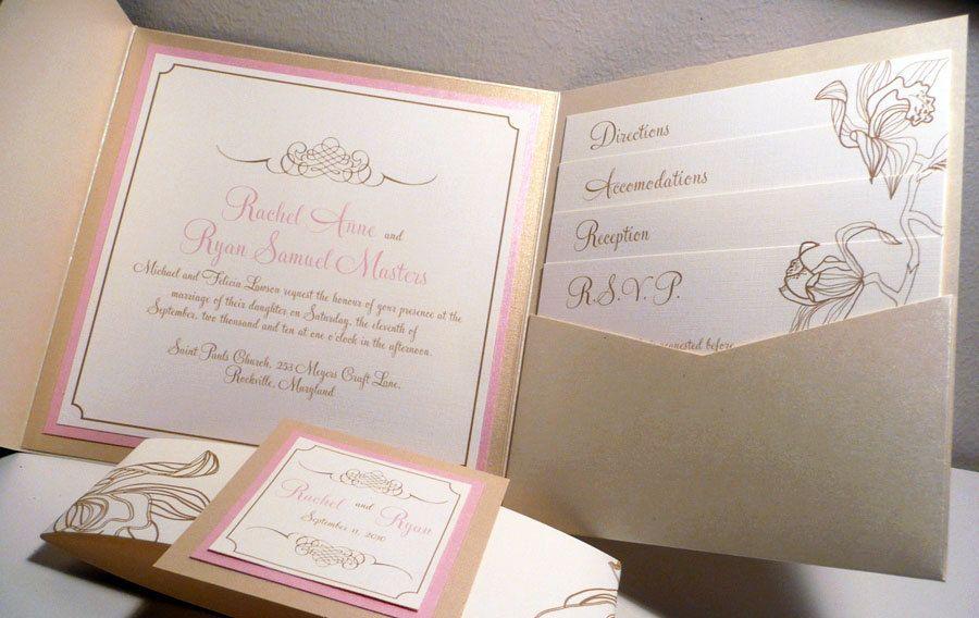 Pink Champagne Pocketfold Wedding Invitation with Flourish $810