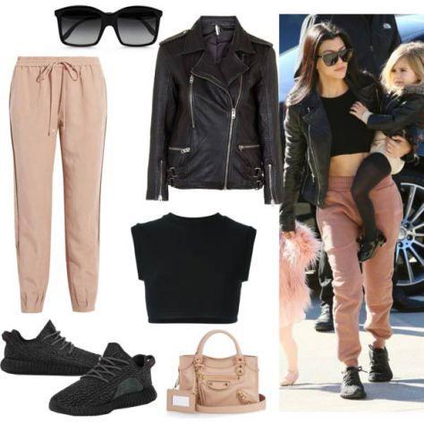 Kourtney-Kardashian-Black-Crop-Top,-Leather-Jacket