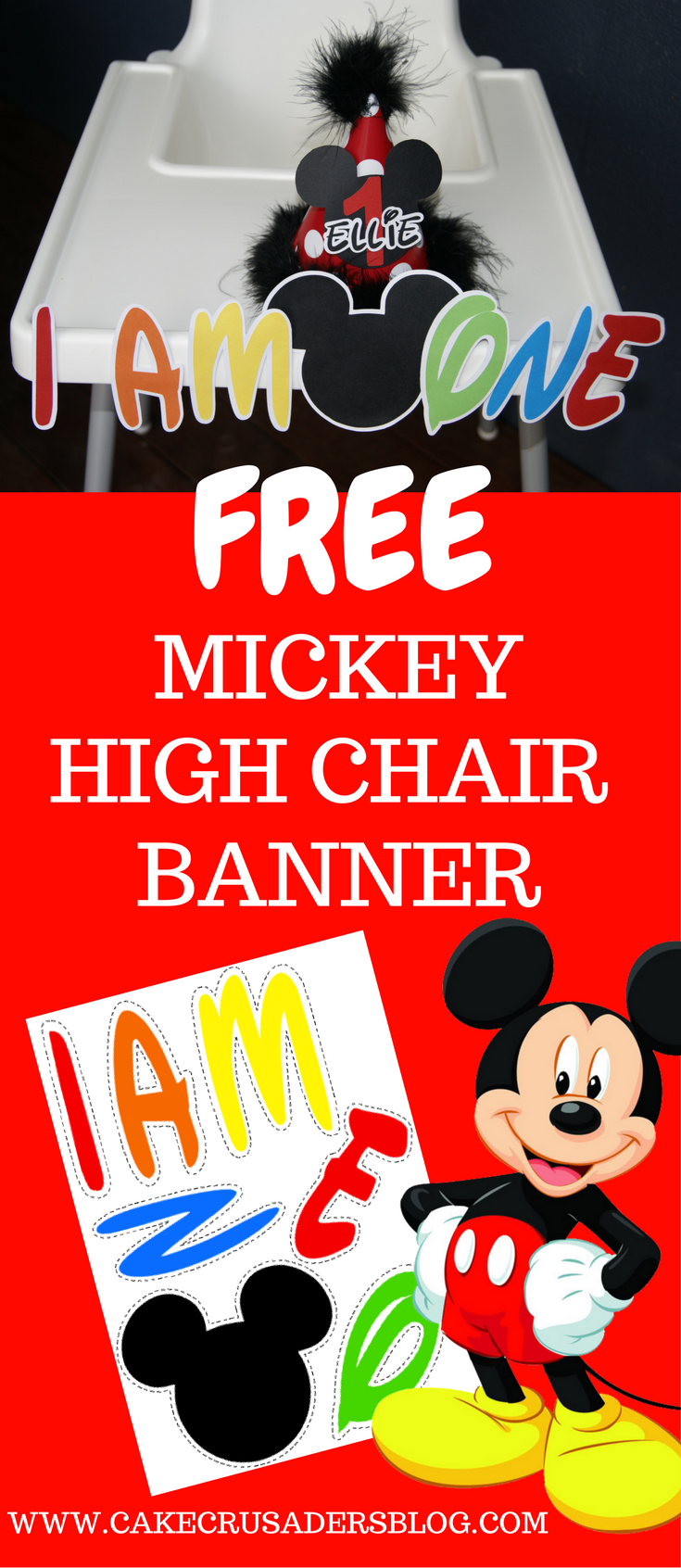 Free Mickey Mouse Clubhouse I AM ONE High Chair Banner Great For Your Little Ones First Birthday Party