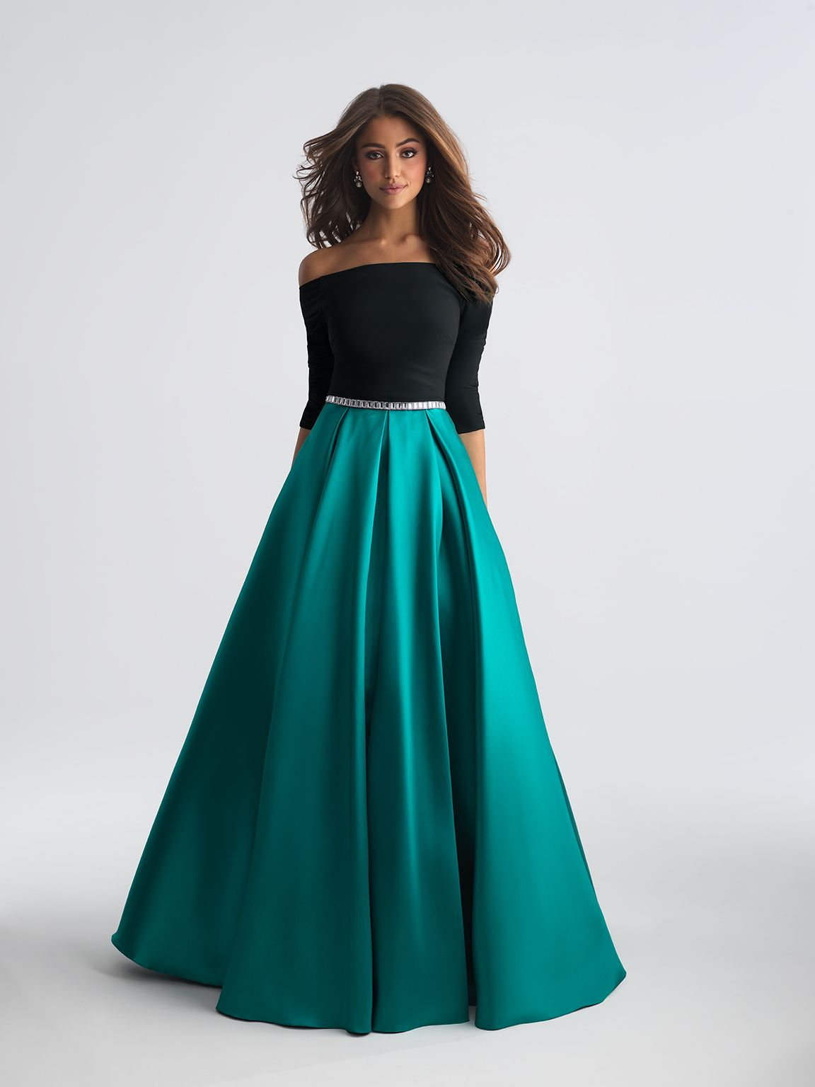 A black, off-shoulder bodice is a perfect contrast to a pleated silk ...