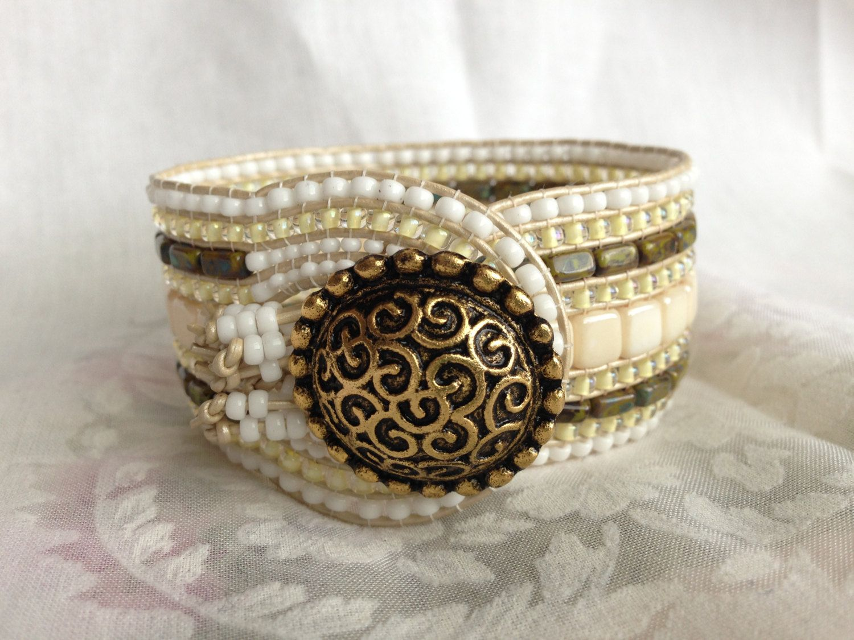 Handmade+beaded+wrap+bracelet+with+a+by+SingingSandsJewelry,+$40.00