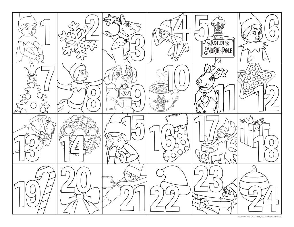 The Elf On The Shelf A Christmas Tradition Advent Coloring Printable Advent Calendar Christmas Coloring Pages