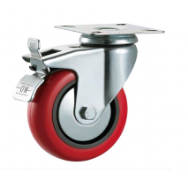 125mm Swivel Top Plate Polyurethane Castor Braked Max 140kg Heavy Duty Caster Casters Wheels