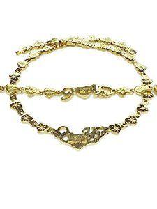 "NEW Womens 14K Gold Tone Hugs and Kisses Stampato Necklace Bracelet set XOXO 18/"""