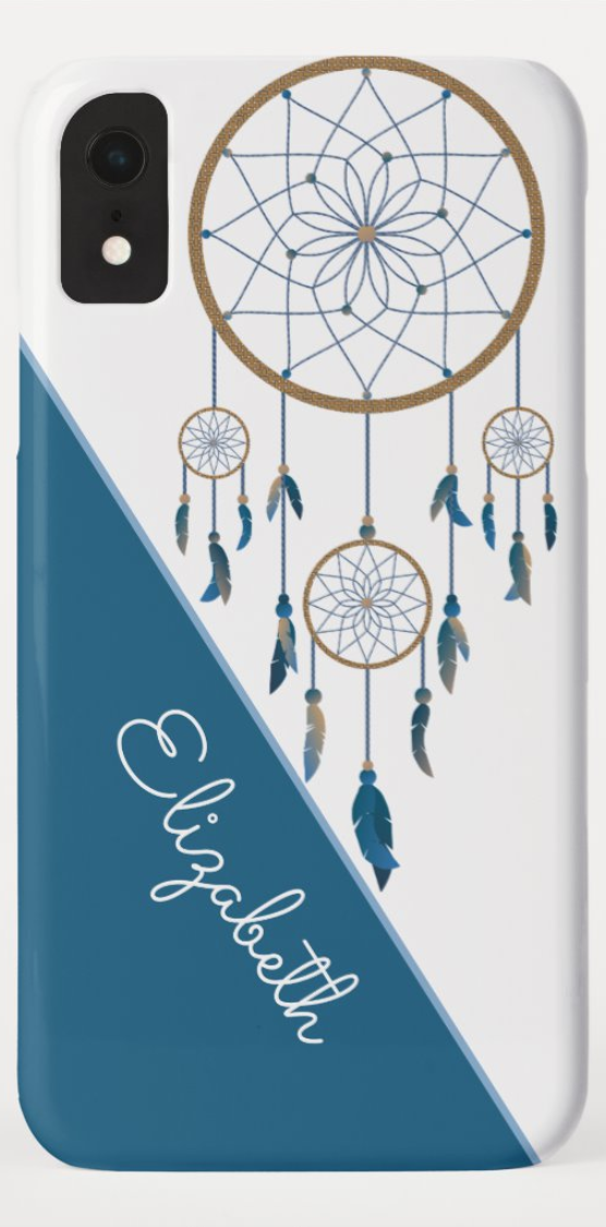 Boho Custom Name Dreamcatcher Blue White Feathers CaseMate iPhone Case Click the link to see how a looks on the designed Available in and style phones