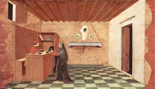 C'est pendant la Renaissance (au XVe s. en particulier) que des artistes comme Brunelleschi,  Alberti, De Vinci... cherchèrent des méthodes géométriques et sûres pour représenter en volume même les objets les plus compliqués.// Paolo Uccello -  Le miracle de l'hostie , 1465-1469