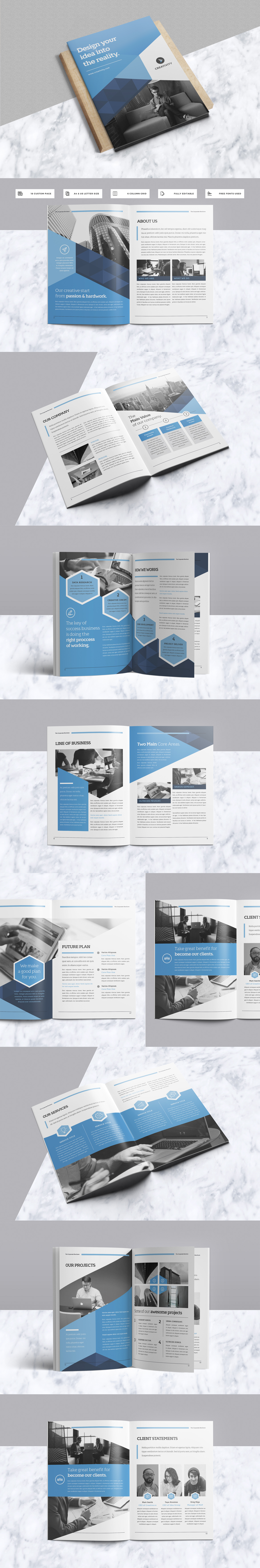 Modern & Professional Brochure 18 Pages Template InDesign INDD ...