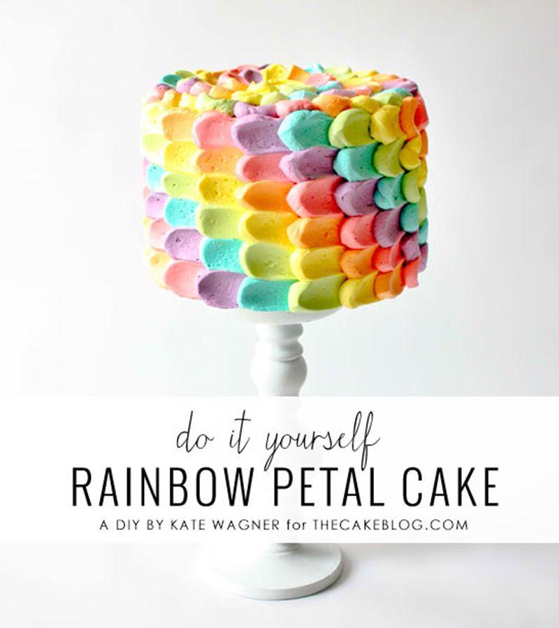 Rainbow Petal Cake | 10 Rainbow Cakes - Tinyme Blog