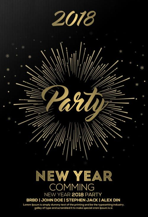 free new year party flyer template httpfreepsdflyercomfree