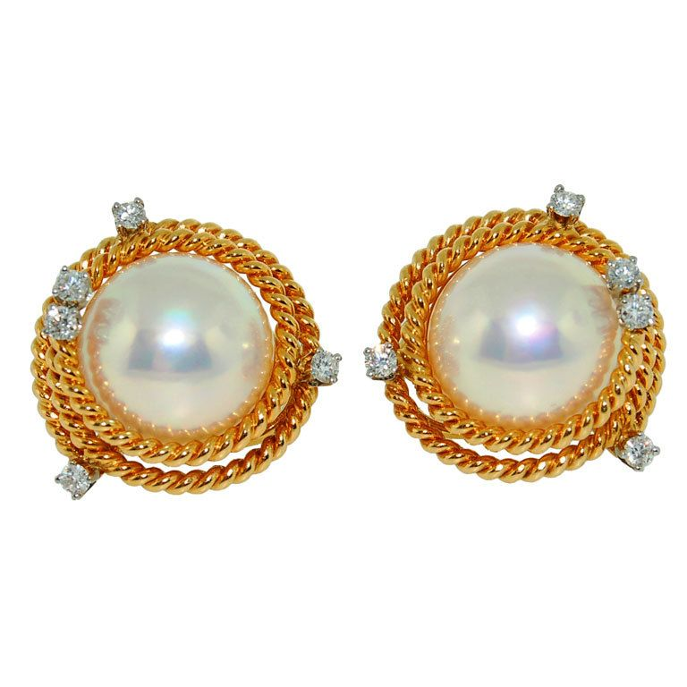 3121c631f TIFFANY and CO. Schlumberger Gold and Pearl Diamond Rope Earrings ...