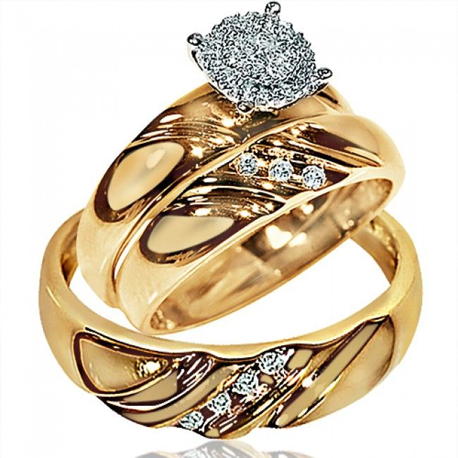 His Her Wedding Rings Set Trio Men Women 10k Yellow Gold Real Diamonds Midwestjewellers