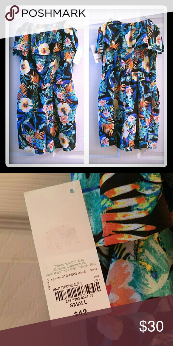 045a098aad8b TROPICAL PRINT STRAPLESS ROMPER BLACK BACKGROUND. FULLY LINED. 2 POCKETS.  100%POLYESTER Decree Other