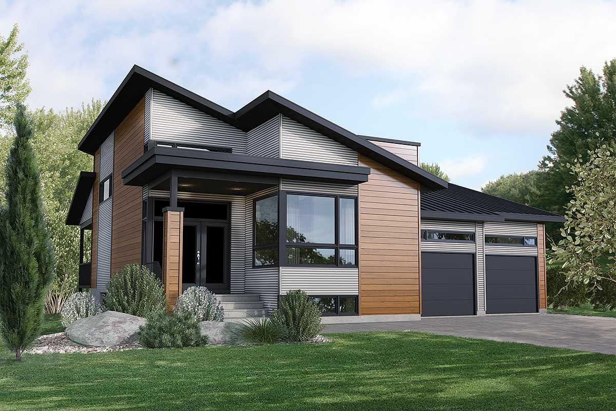 Plan 80913pm Modern 3 Bed House Plan With 2 Car Garage Modern House Exterior Modern Bungalow House House Exterior