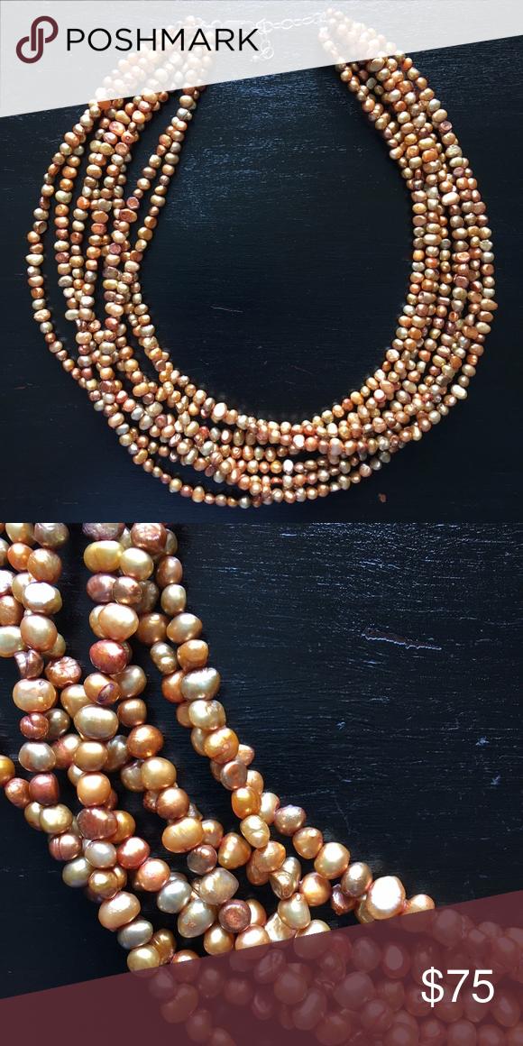 Silpada designs jewelry Eight strand copper freshwater pearl