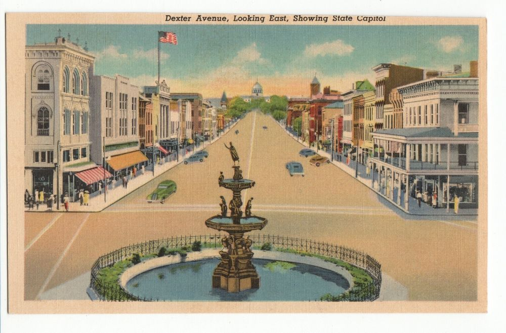 Vintage Linen Postcard Montgomery Alabama Dexter Avenue 1930s