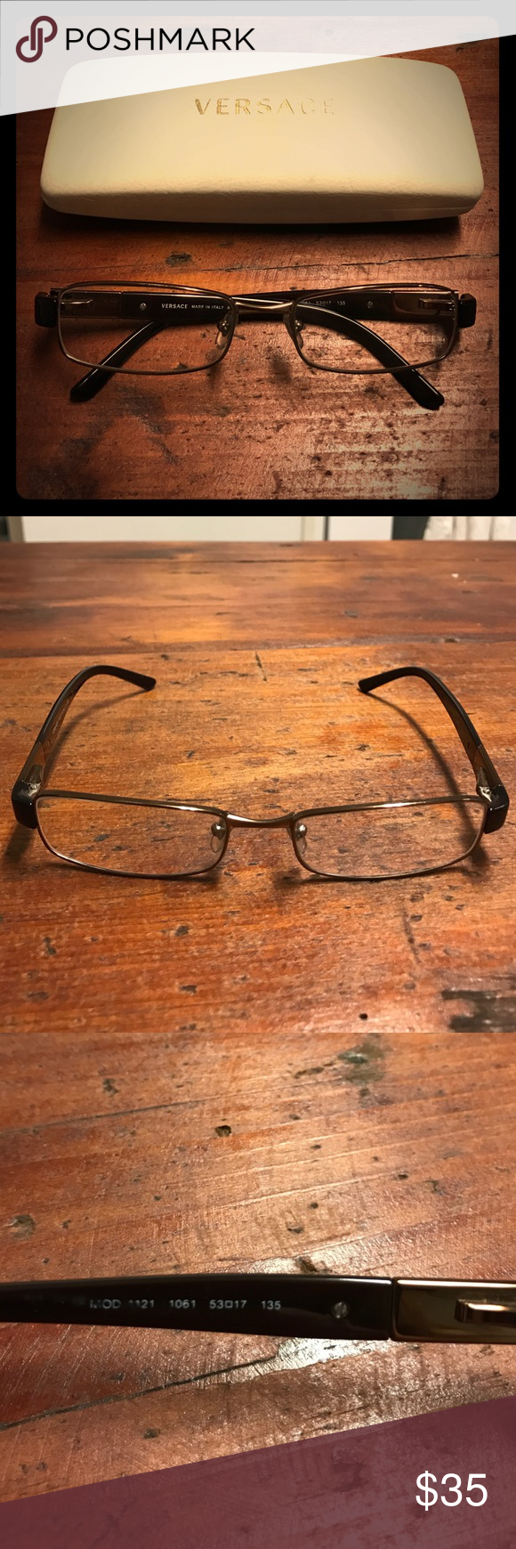 """Versace Bronze & Brown Eyeglasses Rx Thin metal & plastic frame Rx glasses in good used condition, just replace with your lenses! Some scratches on frame, particularly by earpiece (see 4th pic, hard to photograph), but overall doesn't detract from the frames. Plastic arms with metal """"Versace"""" logo. Case included, has stains/signs of wear but works perfectly fine. Versace Accessories Glasses"""