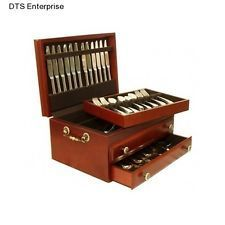 Flatware Storage Chest Silverware Box Wood Drawer Cutlery Case Service  Holiday