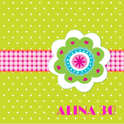 Fröhliche Einladung zum Geburtstag mit Banderole und Blume