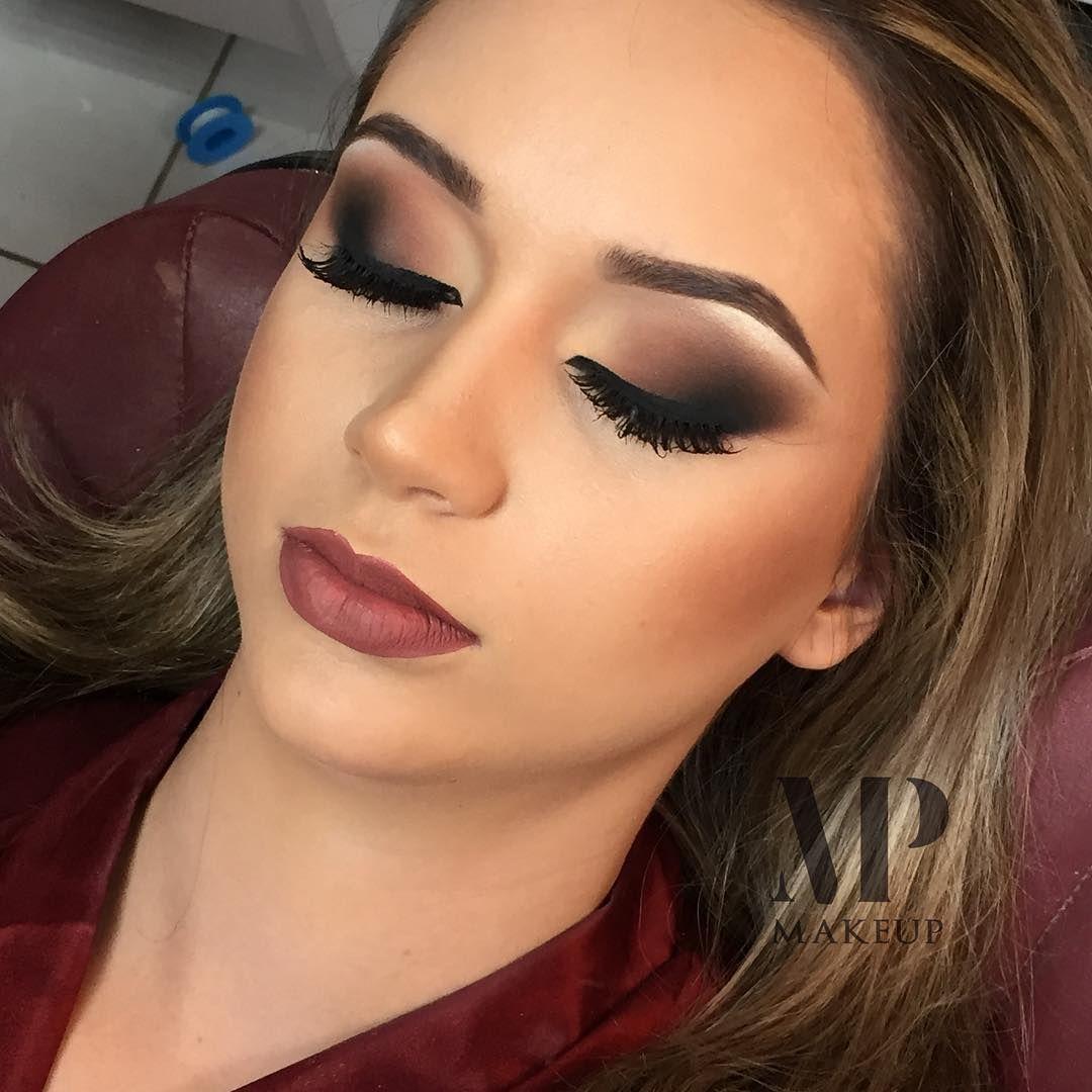 Maquiagem neutra com tons de marrom e preto #maquiagem # ...