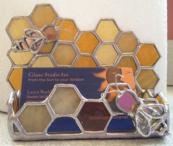 Stained Glass Honey Bee Business Card Holder By Glassstudio820
