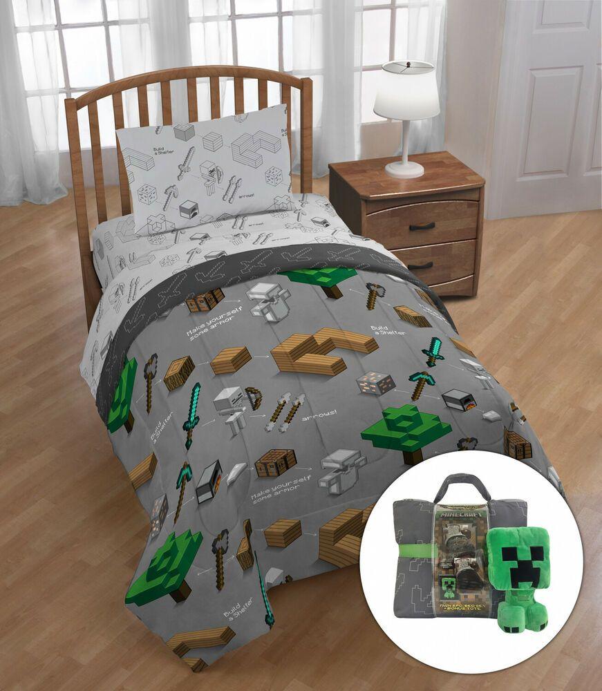 Minecraft Comforter Set Twin Size Kids Child Bedroom Soft Bedding