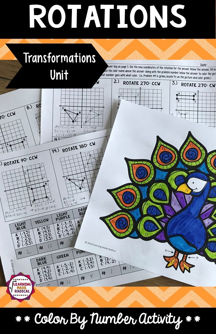 Transformations (Rotations) Color By Number Activity | Pinterest ...