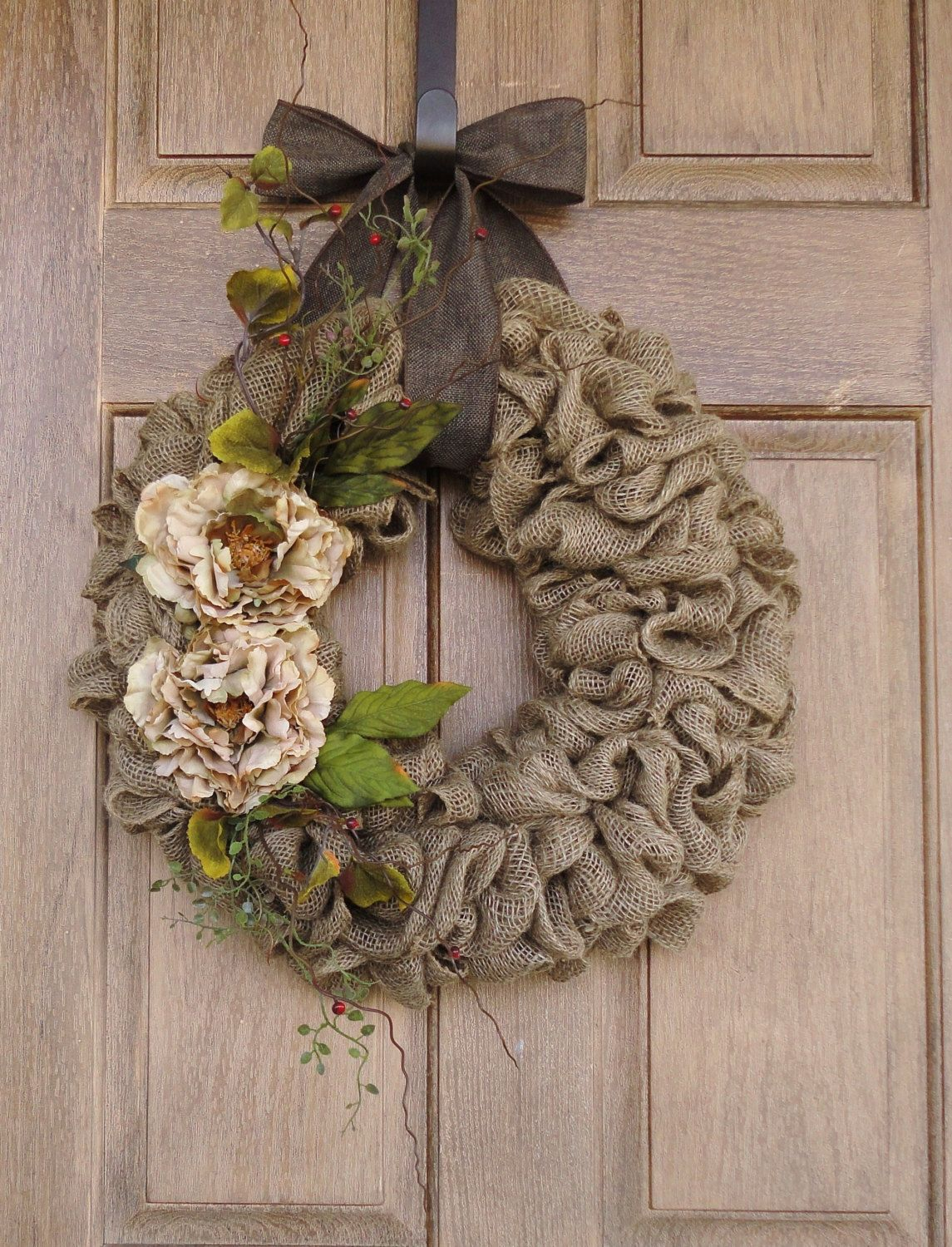 Photo of Items similar to wreath with beige peony flowers – burlap wreath – wine wreath – rattan wreath wreath with earth colored flowers and accents all year round wreath on Etsy