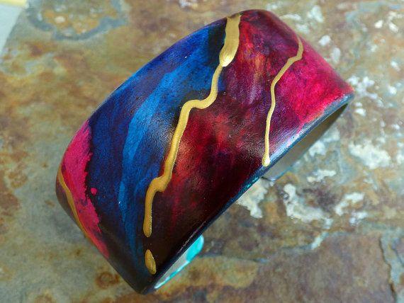 Flow polymer clay cuff by adrianaallenllc on Etsy
