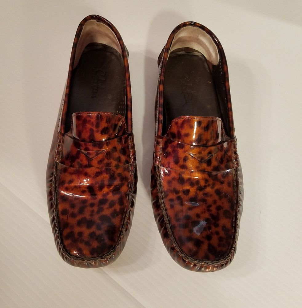 2060ccde558b Cole Haan Trillby Patent Leather Tortoise Penny Loafer Driving Moc Sz 9B   ColeHaan  Loafers