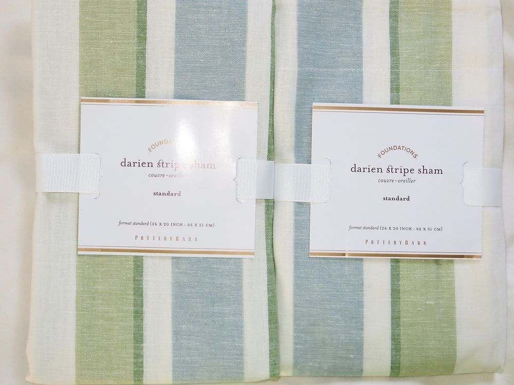 2 Pottery Barn Darien Stripe Pillow Shams Standard Linen