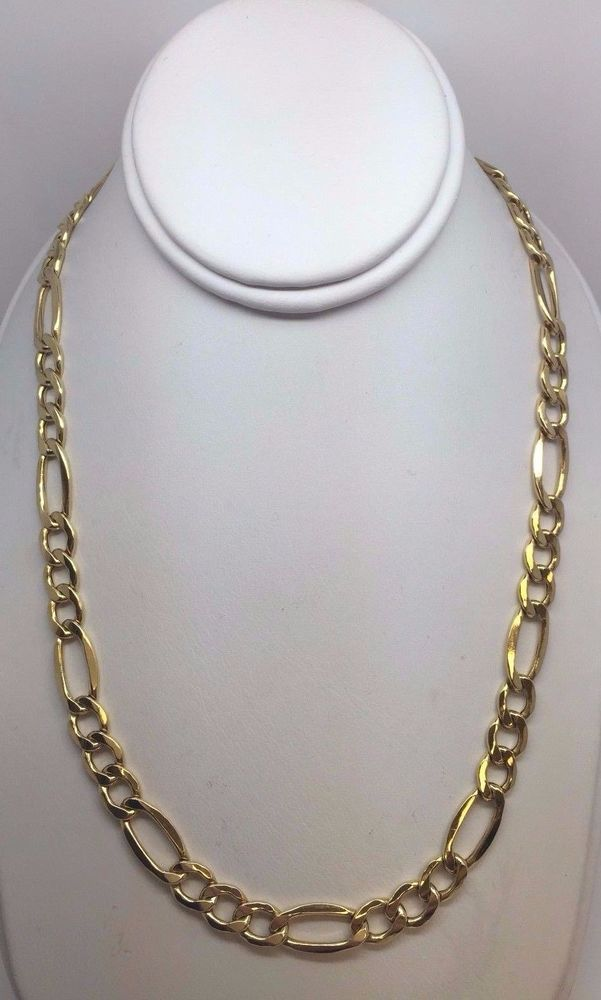 10k Yellow Gold Semi Hollow Figaro Link Chain Necklace 22 9 2 Grams 7 2 Mm Silver Chain For Men Gold Silver Chains Necklace